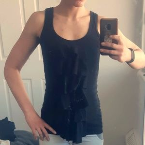 Black Tank Top with front Ruffle-Finn